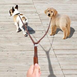 Image 3 - 2 manieren Hondenriem Dubbele Twee Huisdier Lederen Leads NoTangle Koppeling Met Handvat voor Wandelen en Training 2 Kleine Medium honden