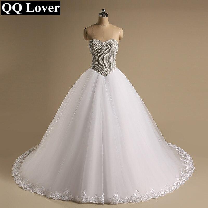 QQ Lover 2019 Super Luxury Beaded Big Train Wedding Dress Bridal Gown Vestido De Noiva