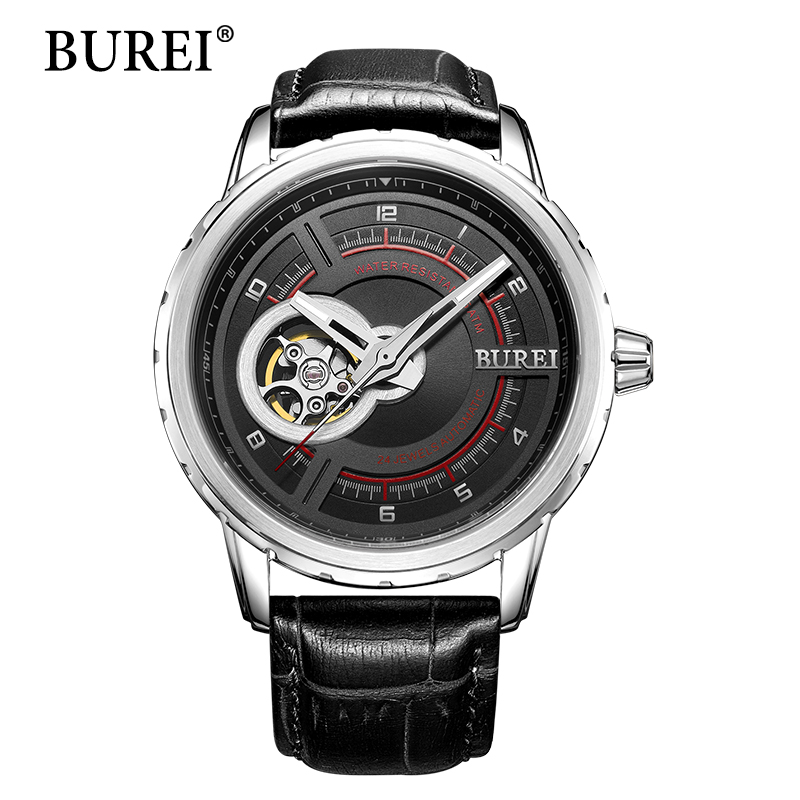 Top Fashion Brand Women Mechanical Watches BUREI Female Sports Clock Genuine Leather Strap Waterproof Automatic Watch Hot Sale 2017 burei men watches top brand fashion clock genuine leather strap casual saat erkekler watch waterproof wristwatches hot sale