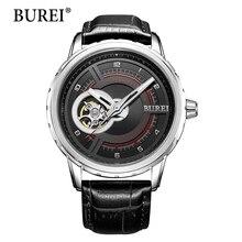 Superior de la manera mujeres de la marca de relojes mecánicos burei femenina deportes reloj impermeable correa de cuero genuino reloj automático caliente de la venta