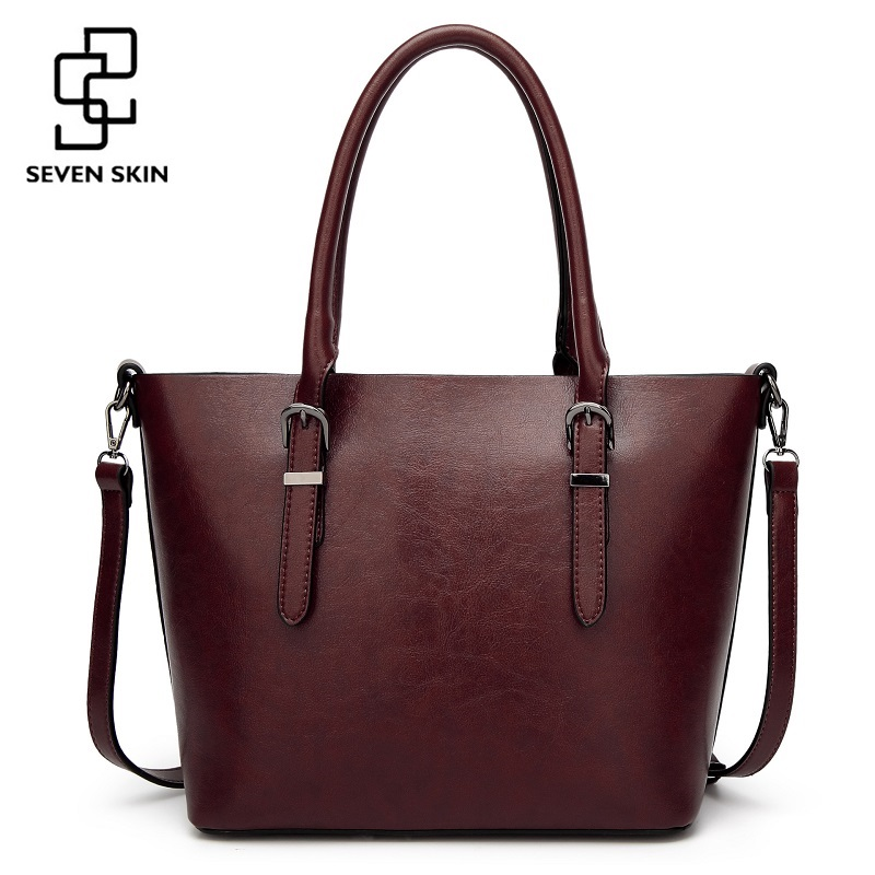 SEVEN SKIN Brand Women Shoulder Bag Female Large Tote bag Ladies PU Leather Top-handle Bags Luxury Handbags Women Bags Designer seven skin brand women oil wax leather shoulder bags vintage designer handbags female big tote bag women s messenger bags 2017