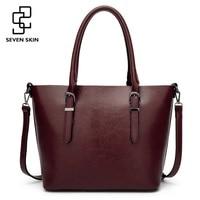 SEVEN SKIN Brand Women Shoulder Bag Female Large Tote bag Ladies PU Leather Top handle Bags Luxury Handbags Women Bags Designer