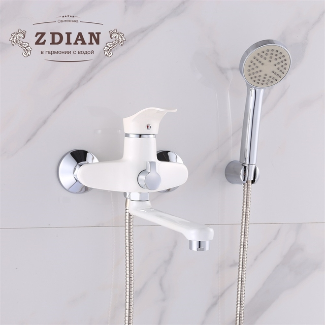 Outstanding Us 39 18 49 Off Beige Spray Paint Bathtub Faucets Zinc Alloy Bathroom Faucet Mixer Tap Wall Mounted Hand Held Shower Head Kit Shower Faucet Sets In Home Interior And Landscaping Eliaenasavecom
