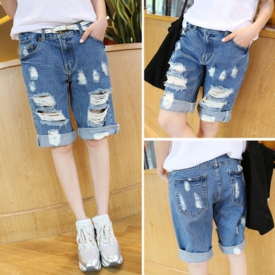Compare Prices on Ripped Distressed Shorts High Waist Knee Length ...