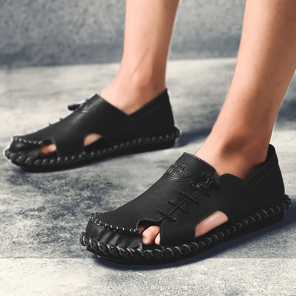 2019 Summer Sandals Men Slippers Summer Casual Leather Flat Shoes Soft Comfortable Beach Sandals Loafers Big Size(China)