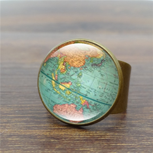 Vintage globe ring planet earth world map art glass dome ancient vintage globe ring planet earth world map art glass dome ancient bronze rings for women men gumiabroncs Gallery