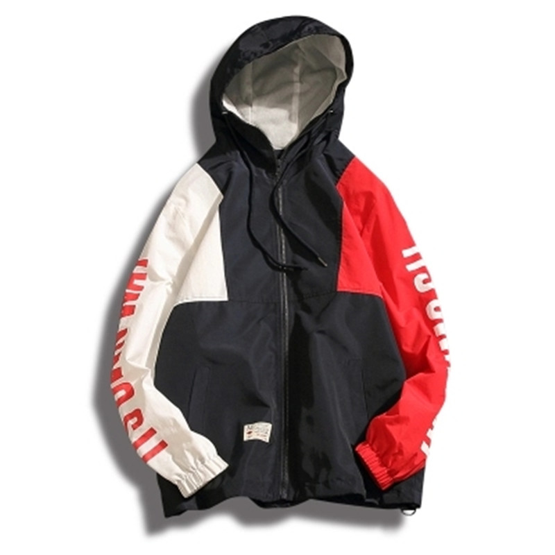 Mens Thin Mesh Oversize Color Block Patchwork Hoodies Hip Hop Loose Streetwear Patchwork Oversized Track Hoodies Jacket M-XXXL