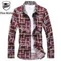 Fire Kirin Men Shirt 2017 Slim Fit Plaid Shirts Men 6XL 7XL Plus Size Mens Dress Shirts Long Sleeve Fashion Brand Clothing T216
