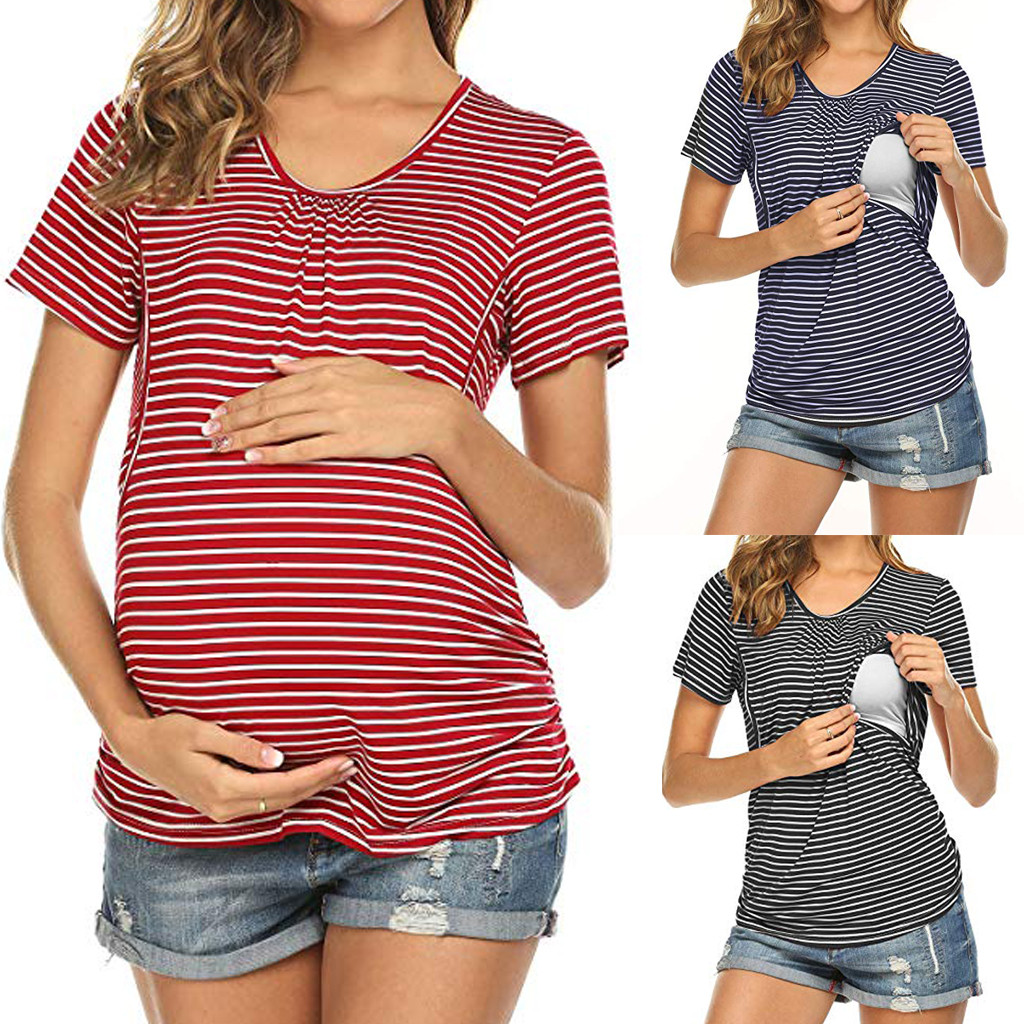 Blusas y Camisas Premam/á Lactancia Ropa Maternidad Camisetas de Manga Largas A Rayas Pullover Top Premam/á Ropa Embarazada Invierno