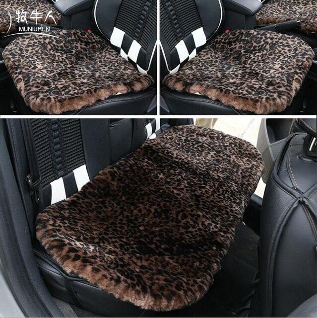 MUNIUREN 3pcs Retro Leopard Print Wool Car Seat Cover Winter Warm Universal Sheepskin Fur Cushions