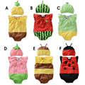 Envío libre Del Mameluco Del Bebé 100% algodón de Verano estilo Fruta/abeja/sandía/mariquita bebé Chaleco Siameses escalada ropa + sombrero
