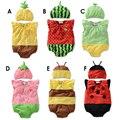 Frete grátis Romper Do Bebê 100% algodão Verão estilo Frutas/abelha/melancia/joaninha bebê Colete Siamese escalada roupas + chapéu