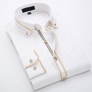 Image 1 - 2020 İlkbahar/sonbahar erkek Slim Fit uzun kollu elbise gömlek avrupa iş rahat sınır gömlek yüksek kalite düğün damatlar gömlek