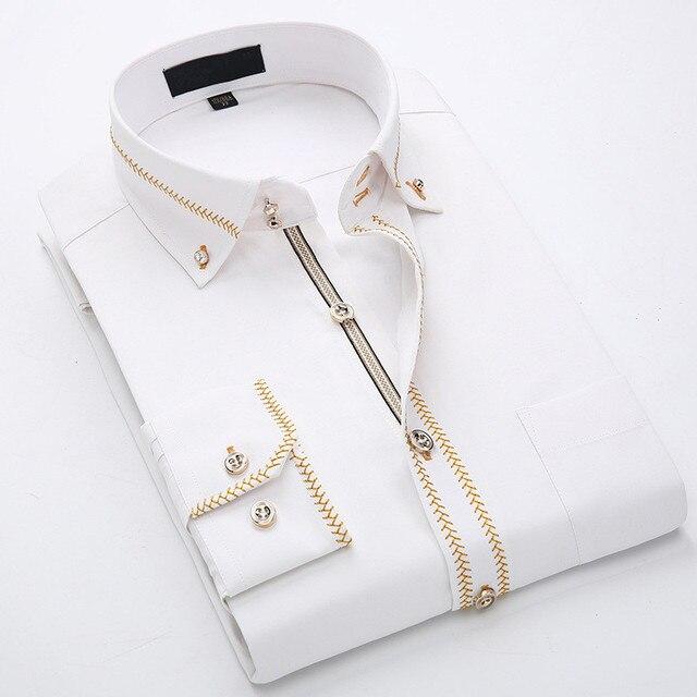 2020 İlkbahar/sonbahar erkek Slim Fit uzun kollu elbise gömlek avrupa iş rahat sınır gömlek yüksek kalite düğün damatlar gömlek