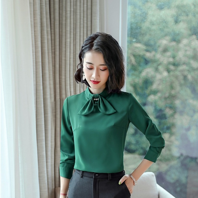 faf5b1851378 Fashion Styles Elegant Green Long Sleeve Blouses & Shirts For Ladies Office Business  Women Work Wear Blouse Female Clothes Tops