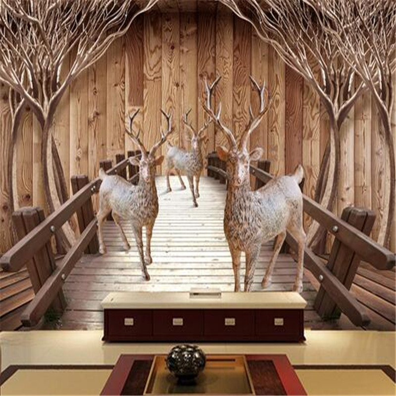 3d room photo wallpaper custom mural nonwoven wall sticker elk wood bridge tree sofa TV background picture 3d wall painting flower bridge river pattern 3d wall art sticker