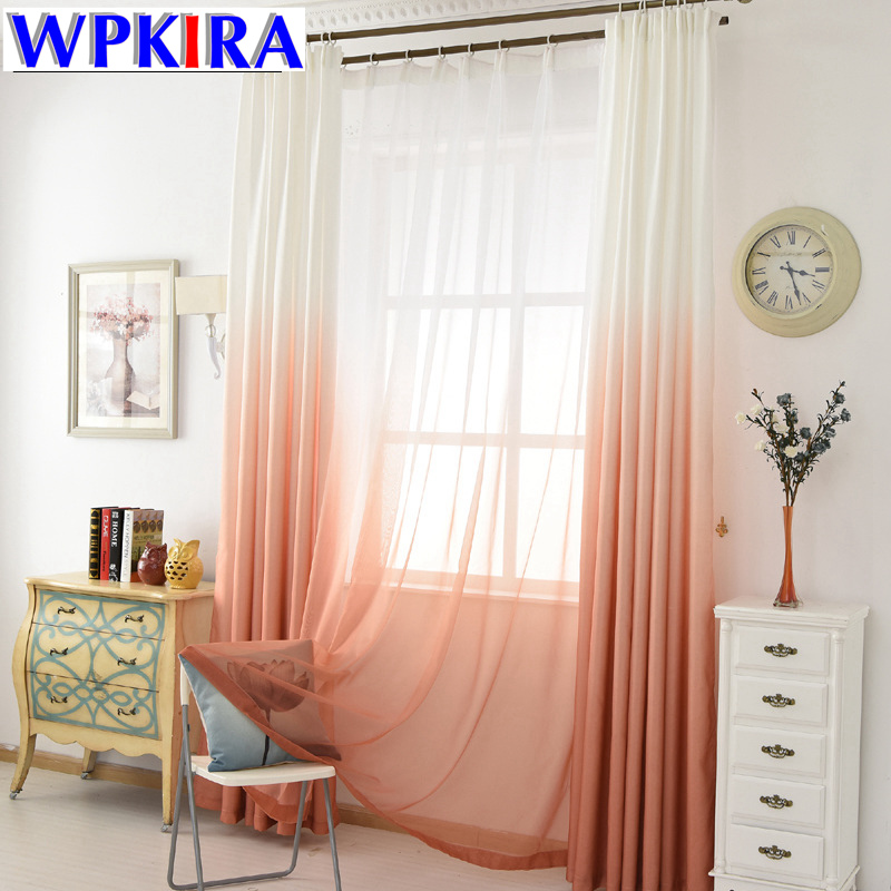 US $4.87 34% OFF|Modern Decoration Window Curtains for Living Room Gradient  Green Curtain Bedroom Drapes Kids Sheer Orange Kitchen Tulle WP185 30-in ...