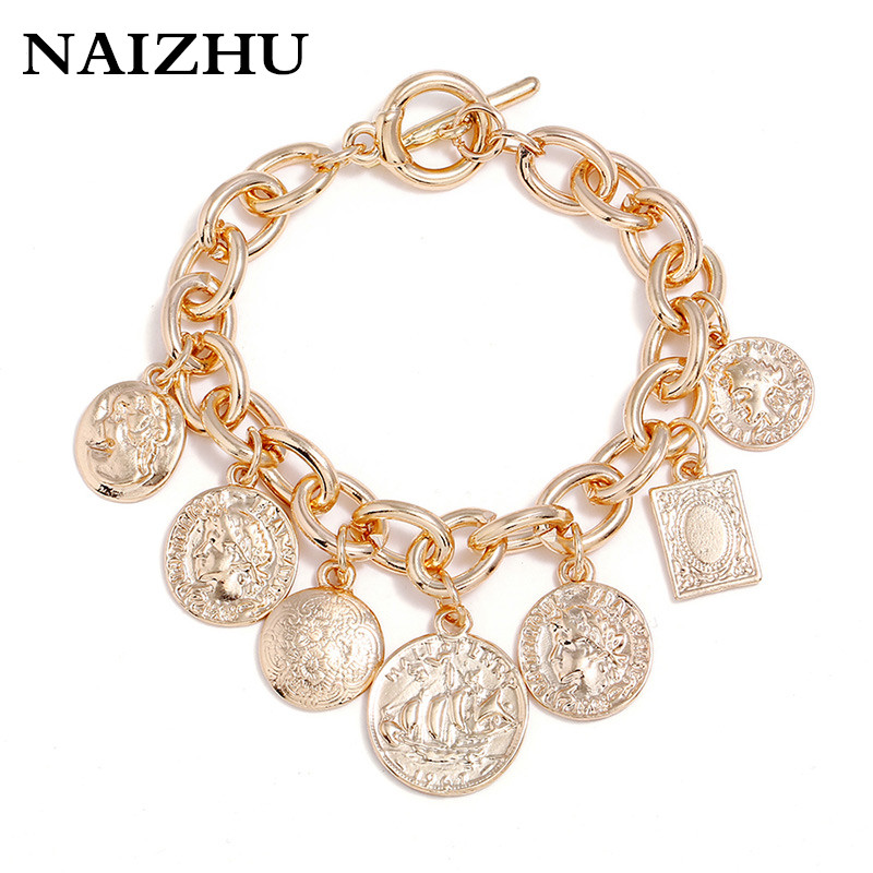 2018 New Coins Bracelet for Women Vintage Turkish Vintage Gold Antalya Bracelet Gypsy Beach Chic Festival Silver Coin Bracelet