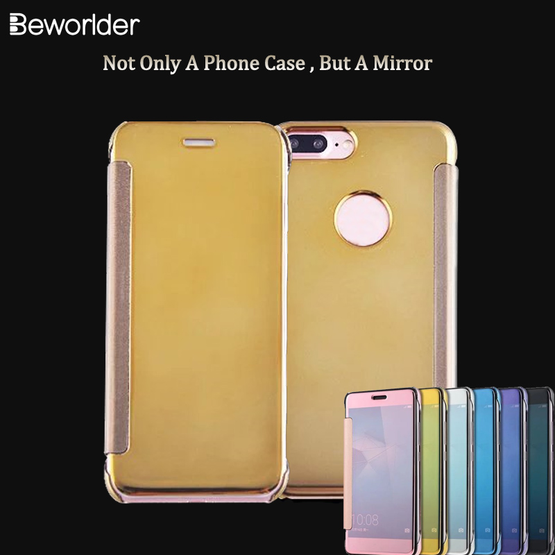 Beworlder For Apple iphone 7 Plus case 5.5 inch Clean View Mirror PU Leather Smart Flip Plastic Back Cover For iPhone 8 plus