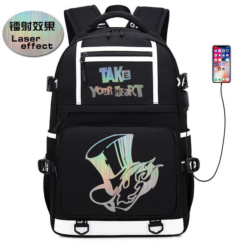 <font><b>Persona</b></font> <font><b>5</b></font> Game Back Pack Laser Effect Bookbag Canvas School Bags Large Women Bagpack USB Chargng Laptop <font><b>Backpack</b></font> Travel Rugzak image