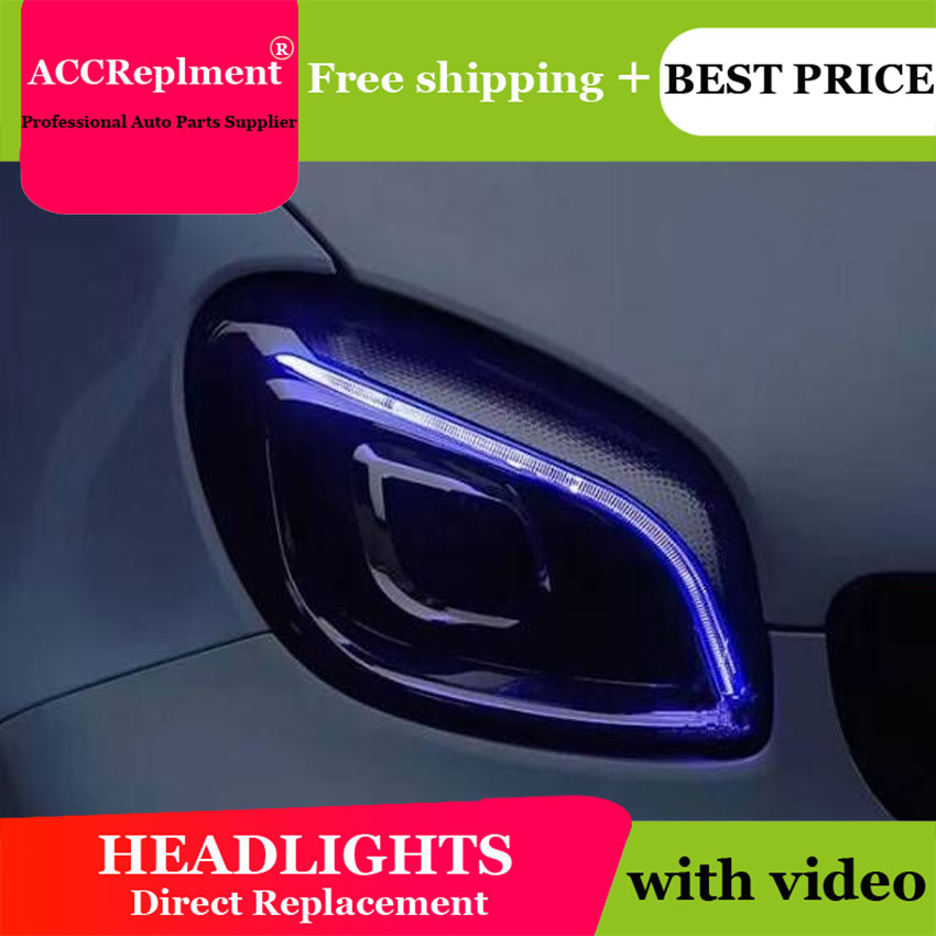 car styling For BENZ smart headlights  All LED 2015-2018 For BENZ smart LED light bar Q5 bi LED lens LED Bulb projector