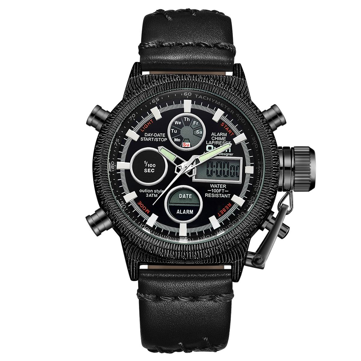 Oulm hommes montres de luxe marque en cuir montre de sport hommes Unique hommes Quartz LED horloge numérique étanche montre-bracelet militaire - 3