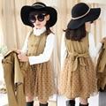 Девушки пачка платье комплект мода девушки осень точка сетки платье слоистых горошек платье без рукавов + короткий плащ дети комплект одежды