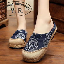 2016 New Slippers Old Beijing Boho Cotton Linen Canvas Cloth Shoes National Handmade Woven Round Toe Flat Shoes With Embroidered
