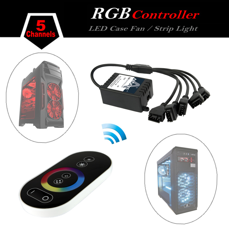 ALSEYE RGB LED fan controller, RGB LED case fan and RGB strips radio frequency controller with Touch remote control