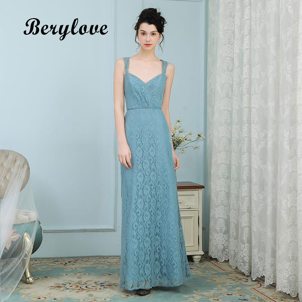 BeryLove Simple Teal Lace Evening Dresses Long Sweetheart Prom ...