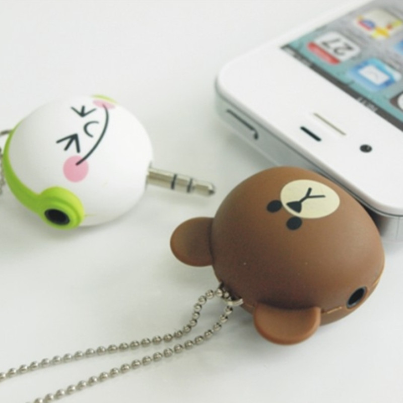 One to two Music Sharing Device Cartoon Headset Deconcentrator 3.5mm Anti Dust Plug Cell Phone Accessories For Iphone All Phone