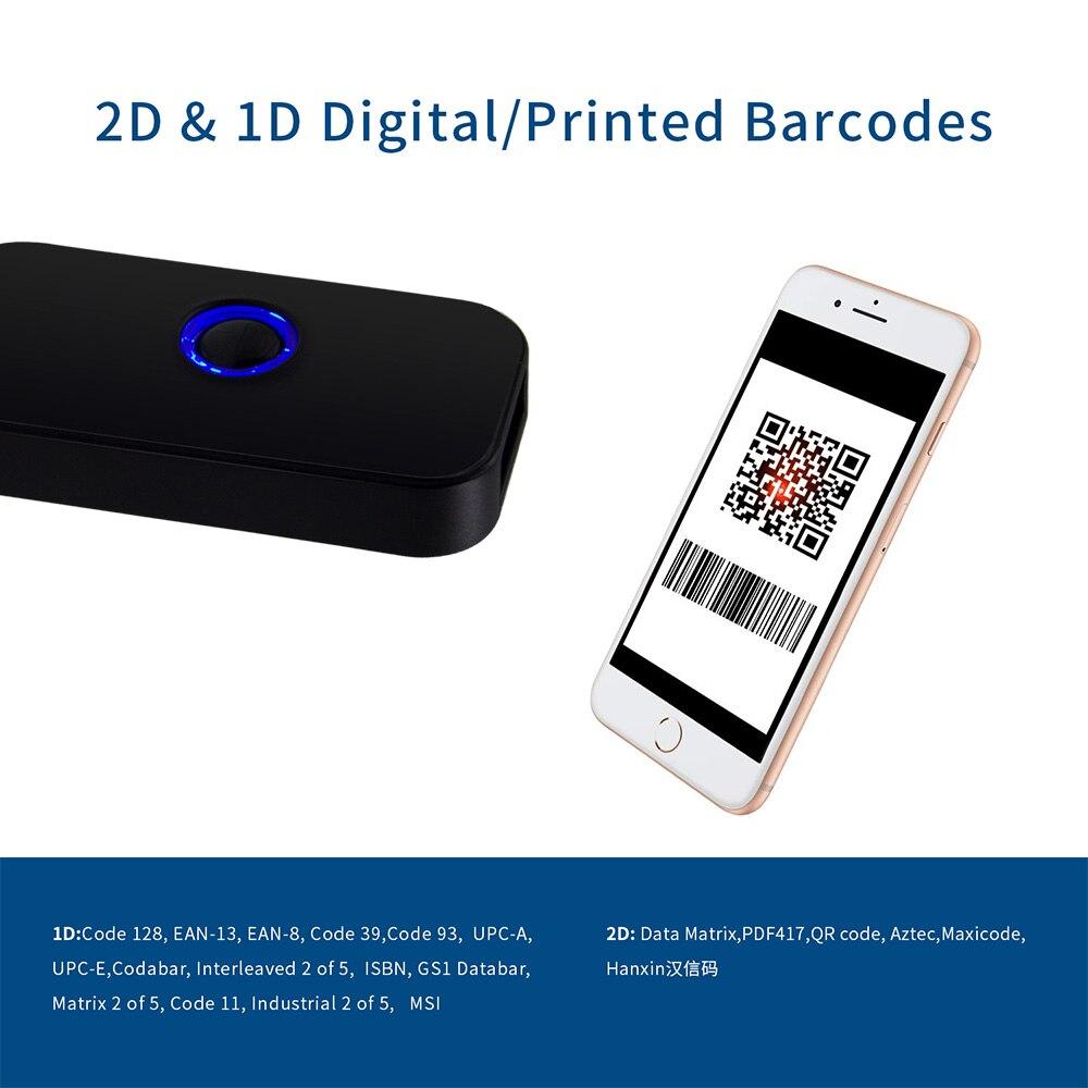 2D сканер штрих-кода Bluetooth, Symcode 1D 2D Bluetooth беспроводной считыватель штрих-кодов с 16M местом для хранения, считыватель qr-кодов