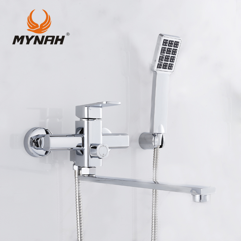 MYNAH Single Handle Hand Sprayer Bath Faucet with Hand Shower Wall Mounted Chrome Bathroom Hot and Cold Mixer Tap 2204 wall mount single handle bath shower faucet with handshower antique brass bathroom shower mixer tap