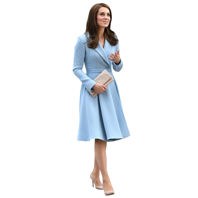 Automne hiver vêtements femmes kate middleton bleu col cranté caché bouton  pression ceinture genou longueur une dc4be69ce648
