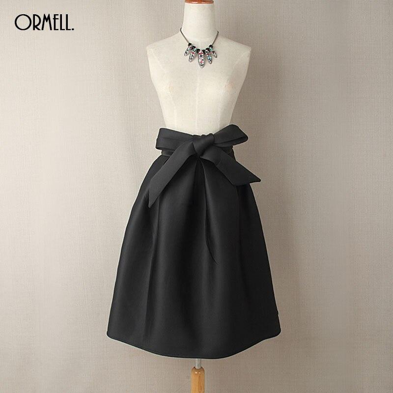 13c77a650d ORMELL Elegant Vintage Women Skirt High Waist Pleated Long Midi Skirt A  Line Big Bow Red Black Green Side Zipper Skater Skirts