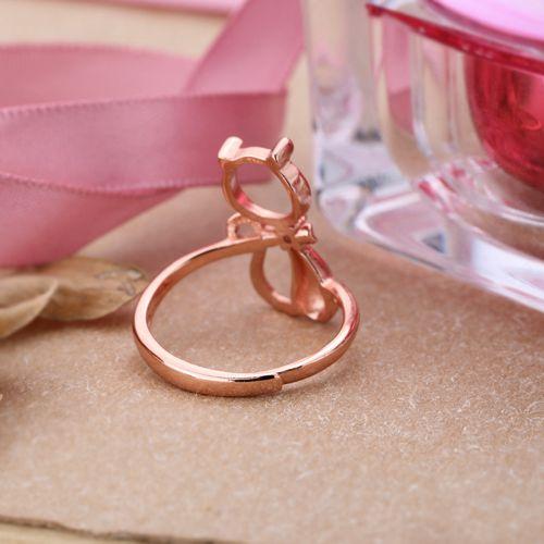 Серебро 925 Розовое золото Цвет девушка полу крепление партия кольцо для круглый кабошон 9x9 мм Янтарный Агат бирюзовый Ювелирные украшения