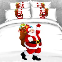 Goldeny Brand 3 Parts Per Set Jolly Santa Claus with his sack of presents 3d Christmas Bed setchristmas decorations for home