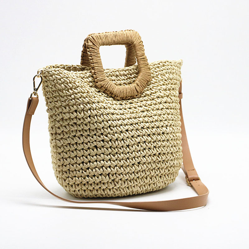 Women Summer Straw Bag Hand Made Rattan Shoulder Bag Boho Travel Shopping Beach Bag The New Women Shopping Basket For Handbags in Shoulder Bags from Luggage Bags