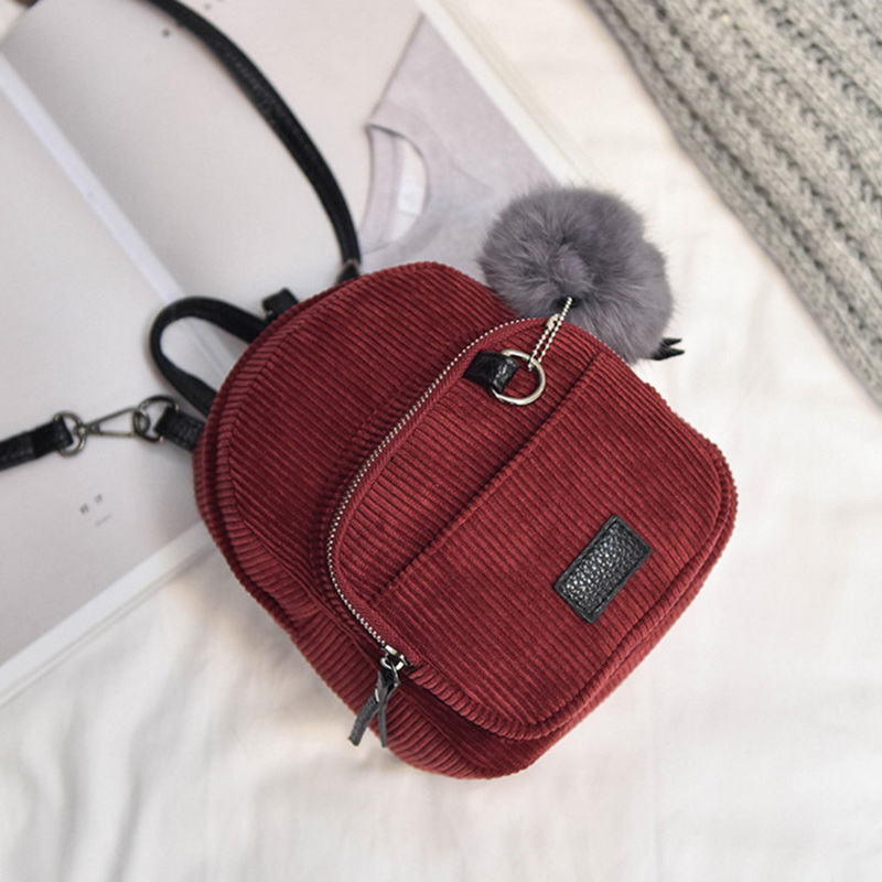 NIBESSER Small Women Backpacks Solid Casual School Bag For Teenage Girls Fur Ball Corduroy Back Pack Candy Color Velvet Backbag
