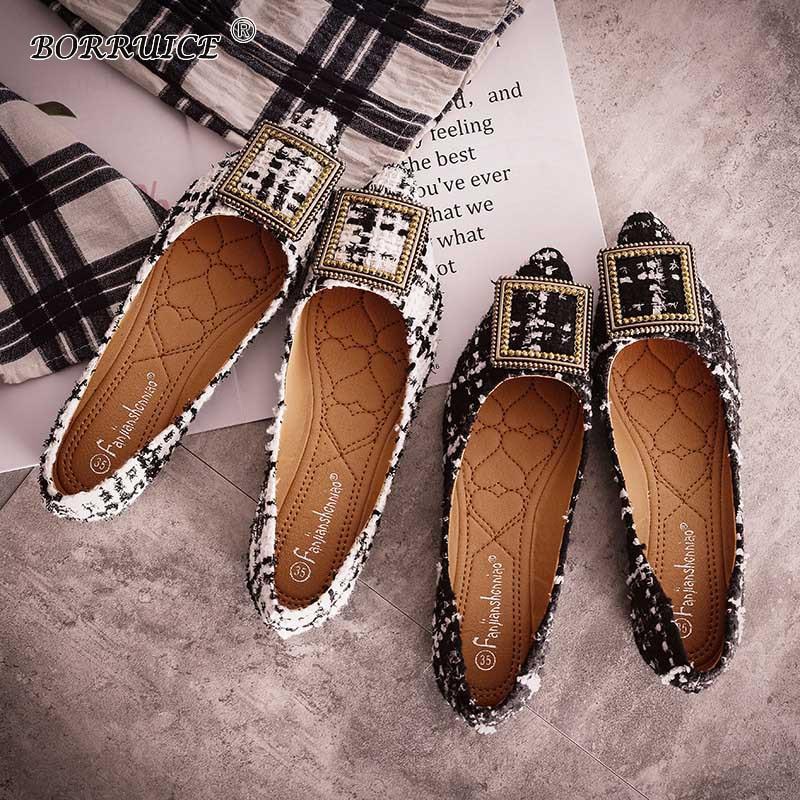 Plates Peu Tissu Printemps Automne Mujer Carré Chaussures 2018 Profonde Nouveau Confortables Pointu Treillis Black Bouche Femmes Boucle Zapatos white Et OqnxzwT