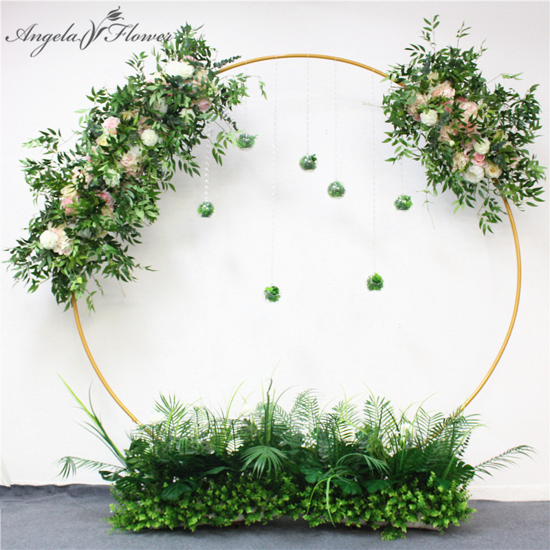 Image 5 - Wedding arch wrought iron round ring arch artificial flower decor birthday party celebration wedding props flower stand shelf-in Artificial & Dried Flowers from Home & Garden