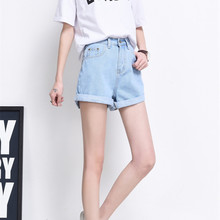 Summer Vintage High Waist Denim Shorts Women Plus Size Loose Casual Solid Curling Short Femme Basic Jeans Shorts