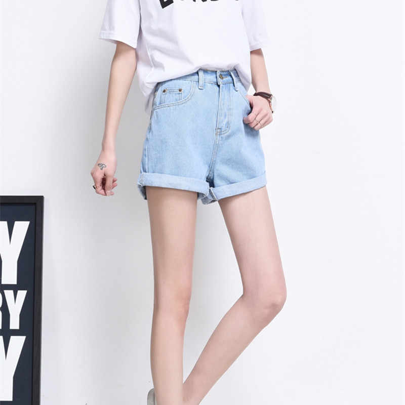 822946183 ... Hzirip 2019 Summer Vintage High Waisted Denim Shorts Women Plus Size  Loose Casual Solid Curling Short ...