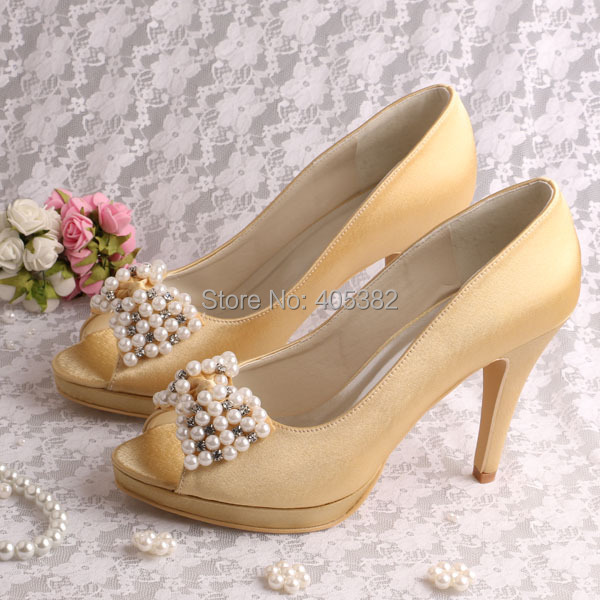 (20 Colors)Brand Women Customized Wedding Bride Shoes Gold Satin Fabric High Heeled