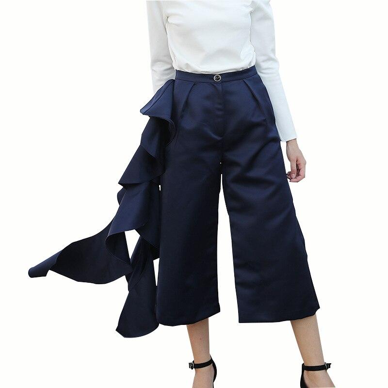 MOBTRS femmes pantalons grande taille mode pantalons droits femmes décoration irrégulière nouveau bleu pantalons décontractés femmes
