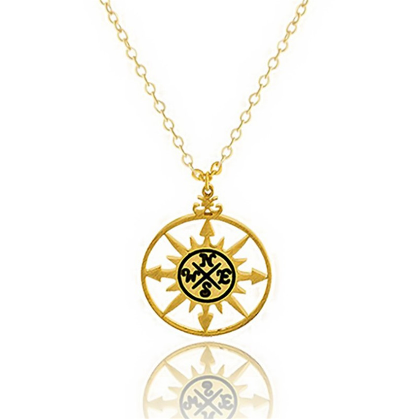 2017 Fashion Gold Silver Supernatural Round Compass Choker Necklace Vintage Stainless Stee
