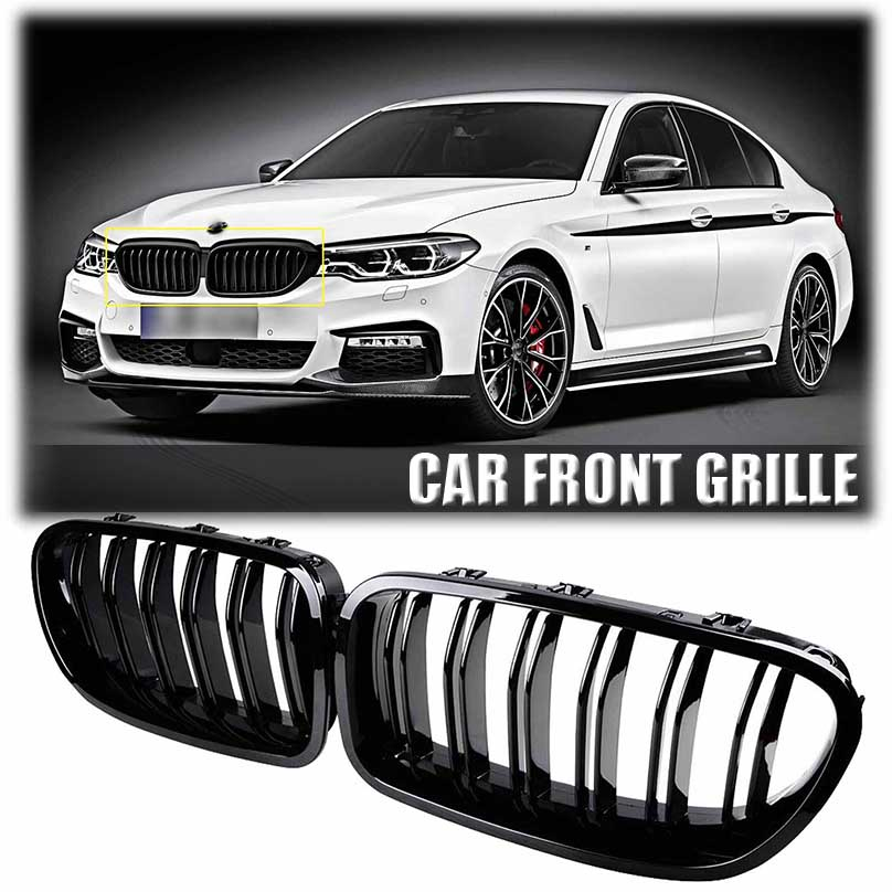 One Pair Painted Glossy durable Front Grille Grill Kidney For BMW 5 Series F11 F10 535i