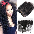 13x4 Curly Lace Frontal Closure with Hair Bundles Malaysian Virgin Hair Deep Wave with Ear to Ear Frontal VIP Kinky Curly Hair