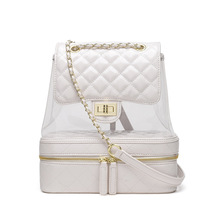 Summer Transparent Backpack Large Women Quilted Chain Leather Multifunction Teenage Girl Backpacks Travel School Bags Mochila casual travel cowhide leather women multifunction backpack shoulder large backpacks mochila school bags teenagers designer maidy