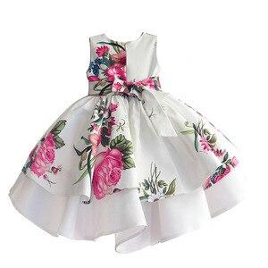 Image 2 - Bebek kız prenses elbise çiçek baskı düğün parti elbiseler çocuk giysileri robe fille vetement enfant fille 2 7T